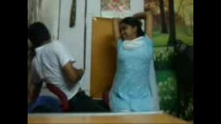 College Young Couple Pressing Boobs in Cafe